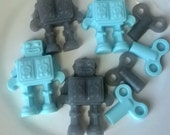 Mini Robot Soap Set - blue and gray - Goat's Milk and Glycerin Soap - Gift for Him- Teen - Novelty - Birthday - Party Favor - NEW - Dude
