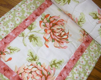 Quilted Table Runner, Peach Mums with Green,  13 1/2 x 40 inches