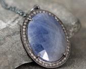 Raw Diamond & Blue Sapphire Halo Necklace - Sterling Silver - Halo Pendant - Rustic Jewellery -Blue Gemstone Necklace - September Birthstone