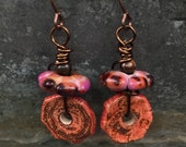 Handmade Pink Copper Color Dangle Earrings Ceramic and Glass Handmade Beads Gift Ideas for Her