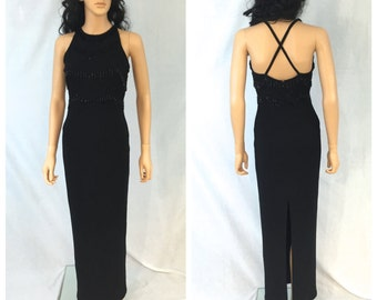 Vintage Long Black Beaded Evening Gown. Criss Cross Back. Open Back. Maxi. Size 6. Adrianna Papell Evening. Formal. 1980s. Wedding. Fancy.