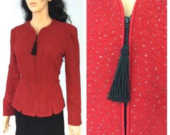Vintage Red Jacket. Jessica Howard. Size 8. Holiday Christmas Jacket. Black Tassel Zipper Pull. Structured Jacket. Under 30. Medium.