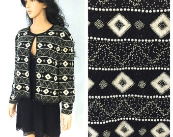 Vintage Black and White Beaded Jacket. Fancy. Wedding. Evening. Formal. Size Large. Papell Boutique Evening. Under 60. Long Sleeve.