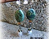 Agate and Olive Earrings with Sterling Silver