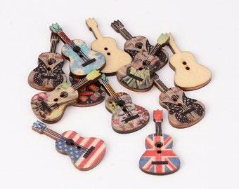 Guitar Wood Button Mix - set of 20 - #BUTTON247