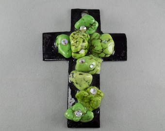 Cross Pendant with Green Howlite and Rhinestones - Sold Individually