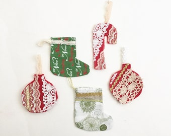 Christmas Ornaments Set, 5 Piece Set, Ready to Ship