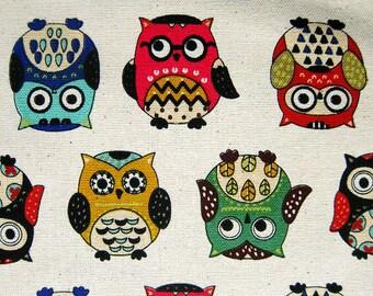 Amazing Owls - Cotton / Linen Blend - Animal Fabric By The Yard - Half Yard
