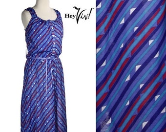 ON SALE 1980s Striped Sundress - Vintage Geometric Diagonal Print in Bold Fuschia, Green, and Purple - size Medium Large