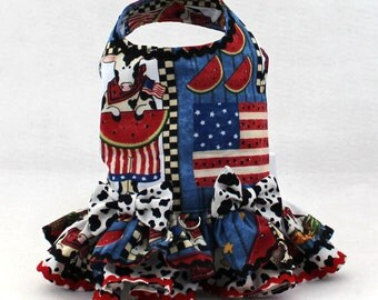 Dog harness, Dog fashion, handmade dog harness, red white and blue harness for small dogs, Dog Vest, Ruffle, Cows