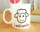 "Humorous ""I Wool Survive"" Coffee Mug for Knitters"