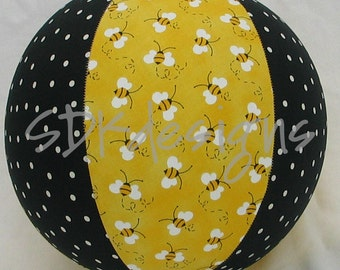 Balloon Cover Ball - Yellow Bumble Bee & Polka Dot Fabric -  As seen with Michelle Obama on Parenting.com