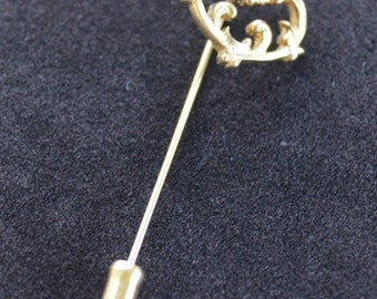 On sale Lovely Vintage Victorian Heart Stick Pin, Rhinestone, Lapel Pin, Gold tone (Z1)