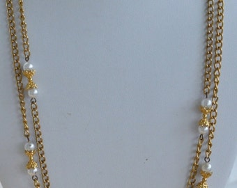 """On sale Pretty Vintage Faux Pearl, Gold tone Necklace, 56"""""""