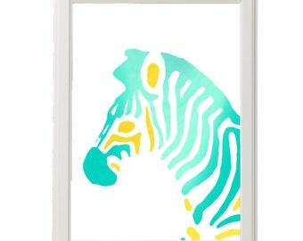 Zebra Printable Art  / Teal Mustard Ombre / Safari Nursery Art Printable / Digital Download Print / DIY Art Print