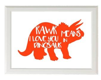 Dinosaur Nursery Print, Rawr Means I love You in Dinosaur, Your Color Choice, Toddlers Room, Boys Nursery Decor