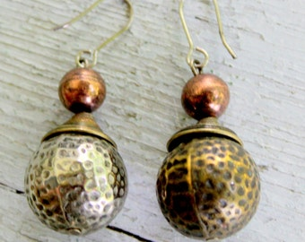 Boho Mixed Metal Earrings Hammered Silver Copper Dangle Pierced