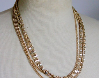 Vintage Sarah Coventry Signed Statement Necklace Greek Key Multistrand Gold Tone 1960s