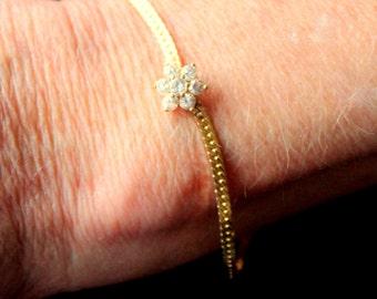 Vintage Bracelet Gold Tone Rhinestone Elegant Dainty