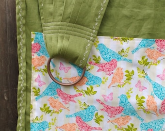 NEW! Cedar Green Linen with Bird Accent --Unique and Bold--