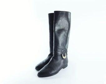 Vintage Riding Boot, Size 9, Black Boots, Black Riding Boot, Knee High Boots, 1980s Leather Boots, Black Leather, 9
