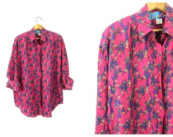 Fuschia Pink Silk Blouse PEOPLE Print Slouchy Button Up 90s Silk Shirt Minimal Loose Fit 1990s Graphic Novelty Top Vintage Womens Medium