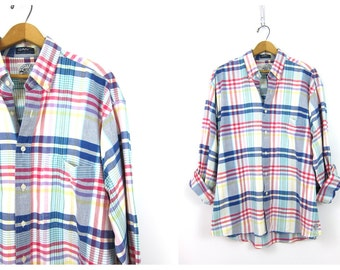 Vintage Plaid Shirt 90s Oversized Red Blue White Cotton Button Up Shirt Grunge Boyfriend Long Sleeve Preppy Tomboy Pocket Shirt Men's Large