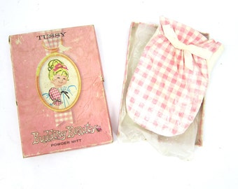 1960s Vintage Tussy's Budding Beauty Powder Mitt Glove in Pink Box Estate Sale