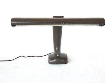 art deco brown industrial desk lamp / large metal table lamp