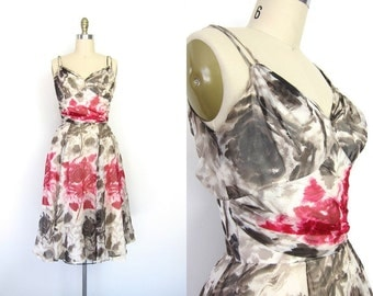 80s Floral Parisian Dress Silk Chiffon Sheer Floral SunDress Watercolor Print Flower Sleeveless Sun Dress Pink Taupe Cocktail with Shawl XS