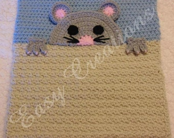PDF CROCHET PATTERN Peek-a-Mouse, Mouse Pajama Pillow, boy Pj bag, girl Pj bag, animal Pj bag, pet pajama bag