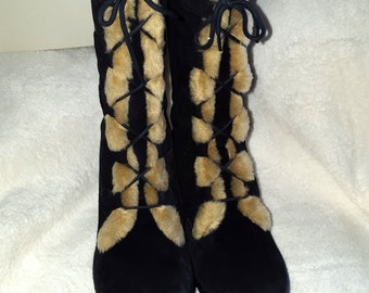 Black Boots Winter Shoes Size 6 1/2 High Knee with Cream Inside Fur Winter Women Boots