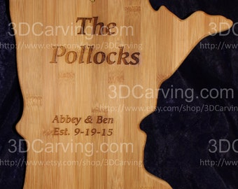 MN Bamboo Cutting Board + Names, Dates and heart Laser Engraved for Wedding Gift - Personalized 11.5 x 13 x .625