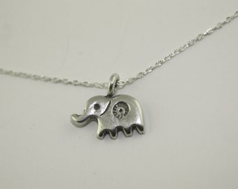 Elephant Necklace, Sterling Silver or Gold Filled