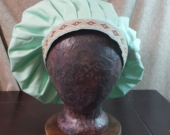 Medieval Caul in Light Mint Green, Muffin Hat Cap, Renaissance Costume, Floppy Hat, Mob Cap, SCA LARP, Peasant Garb, Head Covering