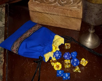 Royal Blue and Yellow Drawstring Purse, Jacquard Trim Game Dice Bag, Jewelery Pouch, Regency Reticule, Renaissance, SCA, LARP, Medieval