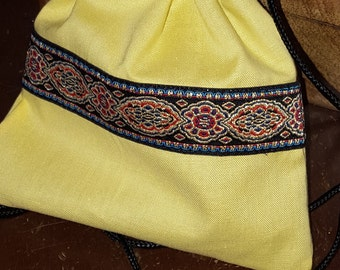 Yellow and Royal Blue Renaissance Coin Purse, Game Dice Bag, Jewelery Pouch, Regency Reticule, SCA, LARP, Medieval, Embroidered Trim