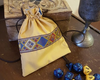 Renaissance Coin Purse in Gold and Cornflower Blue, Game Dice Bag, Jewelery Pouch, Regency Reticule, SCA, LARP, Medieval, Embroidered Trim