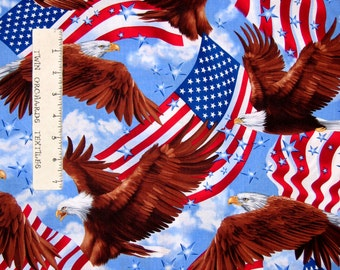 Patriotic Fabric - Bald Eagle & American Flag Blue - Timeless Treasures YARD