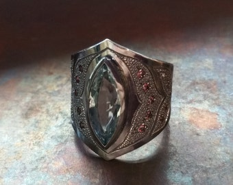 Aquamarine & Garnet Sterling Silver Statement Ring - L'Heure Bleue Ring