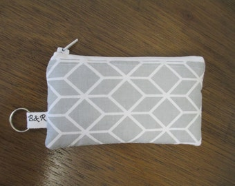Gray and White Geometric Coin Pouch, Zippered Coin Purse, Padded Ear buds Pouch with Keyring, Ready to Ship