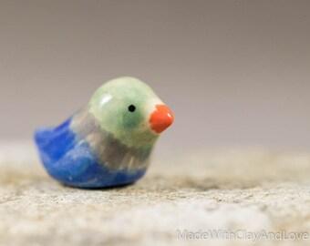 Colorful Little Bird - Terrarium Figurine - Miniature Ceramic Porcelain Animal Sculpture - Hand Sculpted
