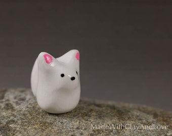 Little Arctic Fox - Miniature Terrarium Figurine Polymer Clay Animal - Hand Sculpted