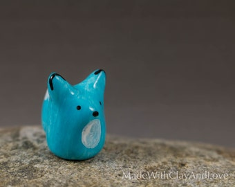 Little Blue Fox - Miniature Polymer Clay Animal Terrarium Figurine - Hand Sculpted
