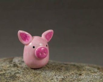 Little Pink Pig - Miniature Figurine Hand Sculpted Miniature Polymer Clay Animal