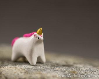 NEW COLOR - Little Pink Unicorn - Miniature Terrarium Figurine Hand Sculpted Polymer Clay Animal