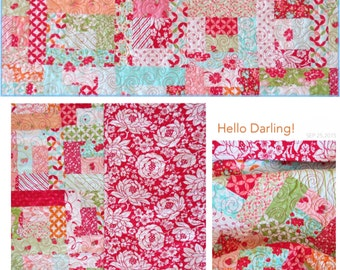Hello Darling Quilt Baby Girl  Nursery Handmade  Bonnie & Camille Moda Fabrics Red Roses