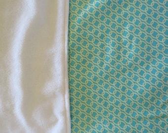 Minky Baby Blanket Nursery Stroller Gender Neutral  fabrics  Green Mint white