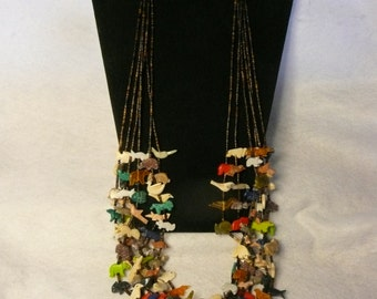 SPECIAL Native American Style Fetish and Heishi Bead 6 Strand Necklace