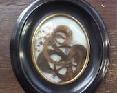 Antique French Victorian era Mourning Hair wreath art